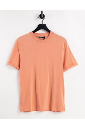 ASOS Organic t-shirt with roll sleeve in orange