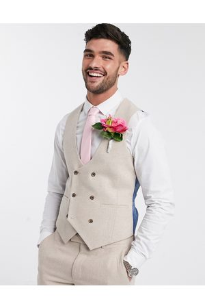Harry Brown Slim fit wedding summer tweed double breasted suit waistcoat-Stone