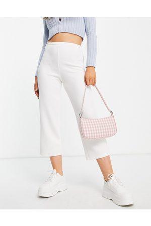 Closet Ženy Široké nohavice - High waist crepe wide leg trouser co-ord in cream-White