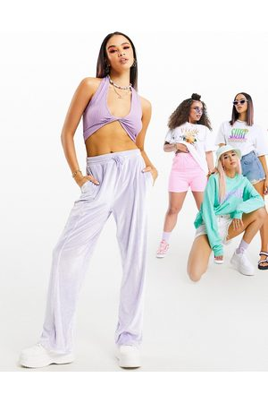 ASOS Wide leg jogger in velour in lilac-Purple