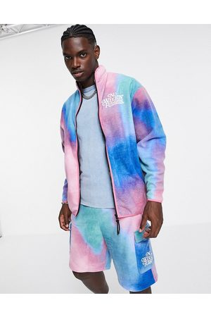 ASOS Co-ord oversized polar fleece track jacket in abstract print with embroidery-Multi