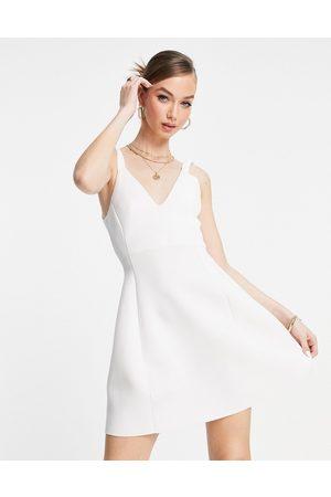 ASOS Ženy Na párty - Ruched elastic skater mini dress in ivory-White