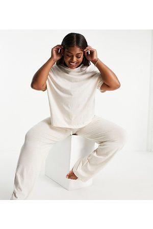 ASOS Curve ASOS DESIGN Curve mix & match jersey straight leg pyjama trouser in cream-White
