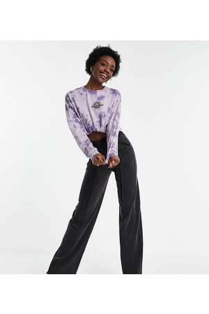 ASOS Tall Ženy Rovné nohavice - ASOS DESIGN Tall straight leg jogger with pintuck in acid wash in charcoal-Grey