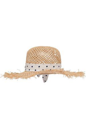 Miu Miu Polka-dot print raffia hat