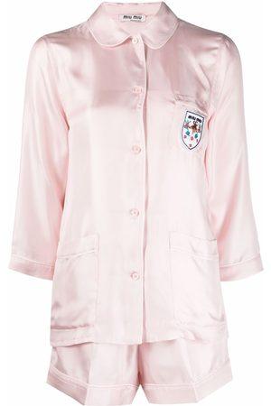 Miu Miu Logo-patch silk pyjama set