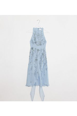 ASOS Petite 3D delicate floral embellished midi dress with wrap waist and soft layered skirt-Blue