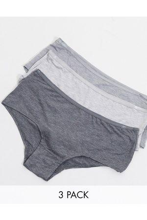 Green Treat Ženy Nohavičkové - Greentreat 3 pack comfy shorts underwear in grey combo print-Multi
