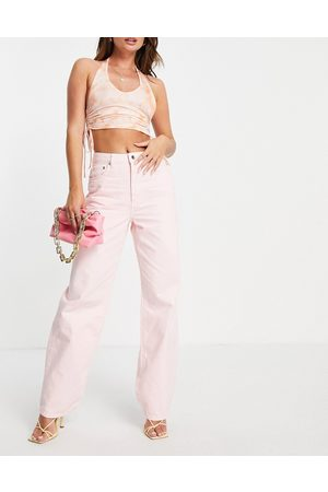 NA-KD High waisted straight leg jean in dusty pink