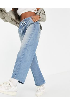 G-Star Lintel high rise slouch fit dad jeans with shoe lace belt in faded blue