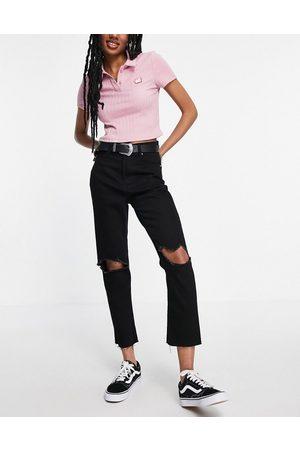 Brave Soul Ženy Mom džíny - Seba mom jeans with knee rips-Black