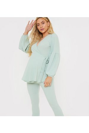 In The Style Maternity X Brooke Vincent volume sleeve wrap top in green check print