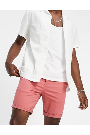 River Island Belted slim chinos in coral-Pink