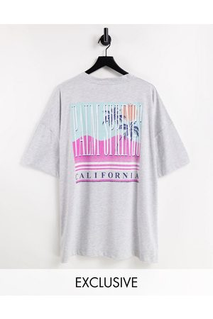 Reclaimed Vintage Inspired organic cotton relaxed t-shirt with palm springs back print-Grey