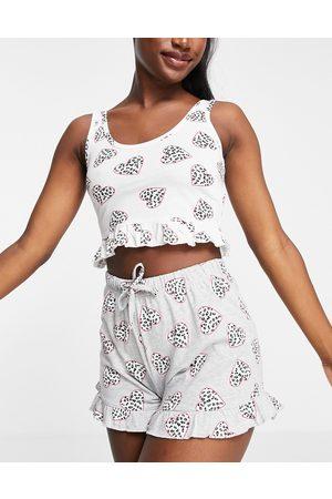 Brave Soul Ženy Pyžama - Marie heart print crop vest and shorts pyjama set in grey and white