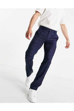 French Connection Muži Chino - Slim fit mini check trousers-Blue