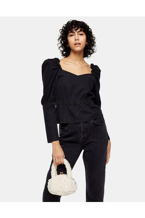 Topshop Ruched Long Sleeve Blouse in Washed Black