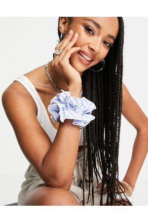 Topshop Mixed stripe ruffled scrunchie in blue and white