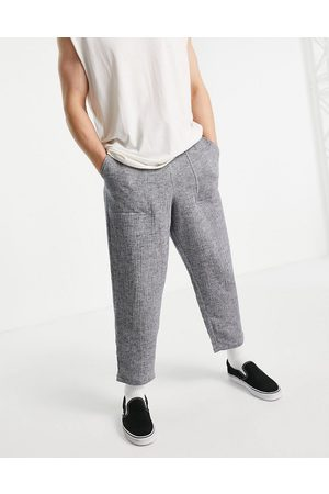 ASOS Wide trousers in lightweight textured fabric-Navy