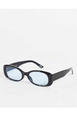 ASOS Oval sunglasses in black with blue lens