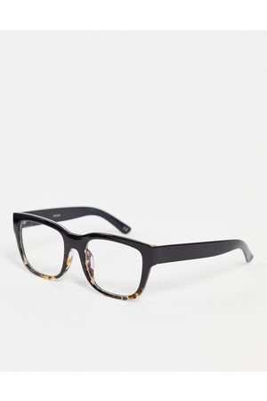 ASOS Square frame clear lens glasses with blue light in tort fade-Brown