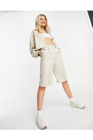 ASOS Tailored clean suit mom short in ecru-White