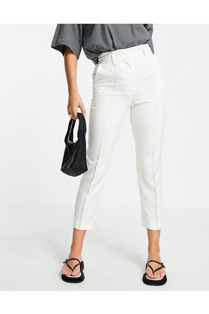 ASOS Tailored smart mix & match cigarette suit trousers in ivory-White