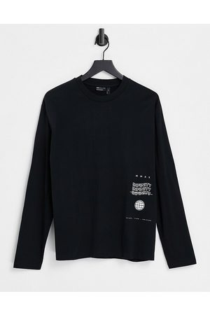 ASOS Relaxed long sleeve t-shirt in black organic cotton with text print
