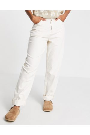 ASOS High rise 'super slouchy' mom jean in cream-Green