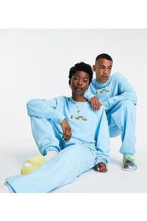 COLLUSION X EXIST LOUDLY Unisex oversized joggers with print in blue co-ord