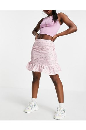 Missguided Co-ord mini skirt with frill hem in pink ditsy floral