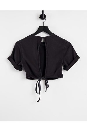 Weekday Little co-ord denim tie detail top in washed black