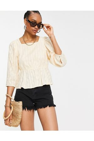 Y.A.S Textured top with square neck and pephem in cream-Neutral