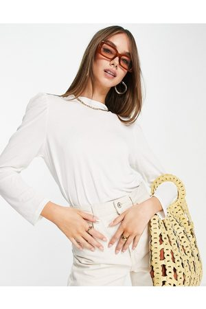 ONLY High neck 7/8 puff sleeve jersey top in white
