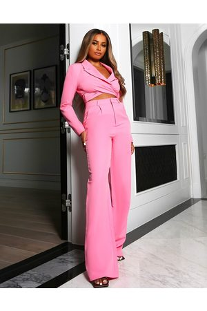 Public Desire X Amber Gill high waist tailored trouser co ord in pink