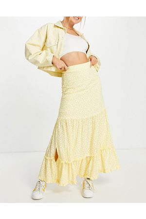 Lost Ink Midaxi tiered skirt in ditsy floral co-ord-Yellow