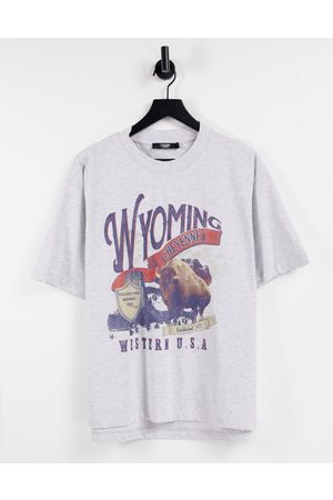 Jaded London Oversized t-shirt in grey with wyoming print