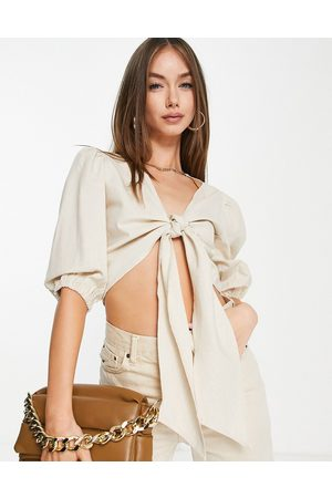 Pretty Lavish Tie front puff sleeve linen blouse co-ord in sand-Neutral