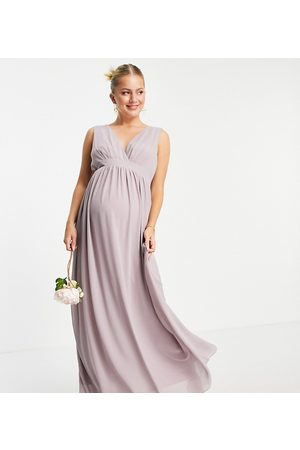 TFNC Bridesmaid top wrap chiffon dress in light grey