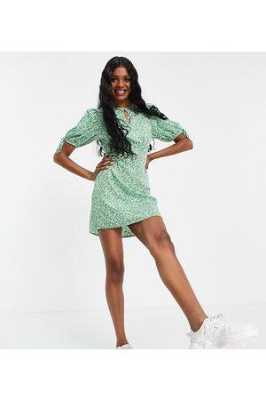 Influence Ženy Volnočasové - Mini tea dress in green floral print