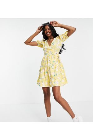 Influence Tall Tiered mini dress in yellow floral print