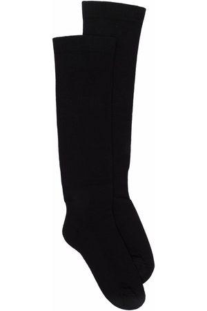 Rick Owens Muži Ponožky - Intarsia-knit logo knee-length socks
