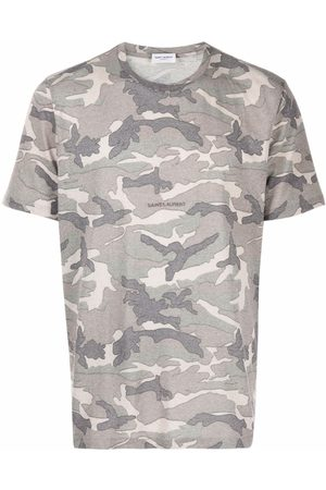 Saint Laurent Muži S krátkým rukávem - Camouflage-print T-shirt