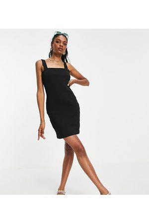 ASOS Ženy Přiléhavé - Tall square neck bodycon in rib in black