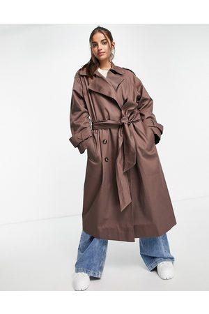 ASOS Ženy Trenčkoty - Oversized trench coat in dark brown