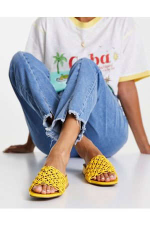 ASOS Flexion woven mule sandals in yellow