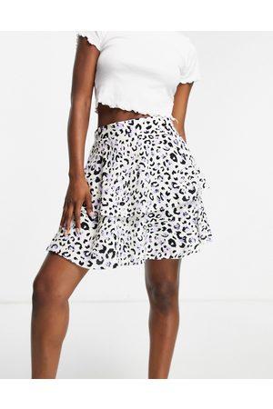 ASOS Tiered Mini skirt in animal floral print-Multi