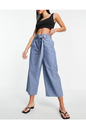 VERO MODA Chambray culottes with belted waist in blue