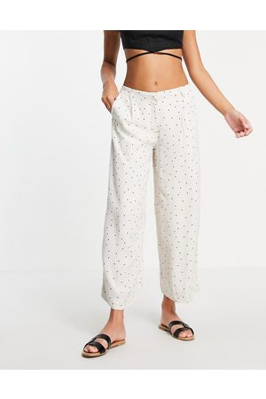 SELECTED Femme wide leg trouser co-ord in white spot print