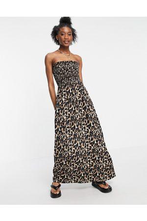 Influence Bandeau beach maxi dress in leopard print-Multi